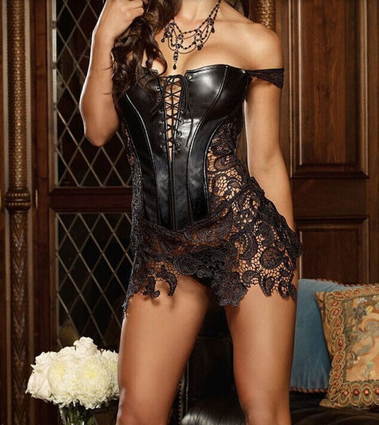 Women Black Faux Leather & Lace Burlesque Steampunk Corset Dress