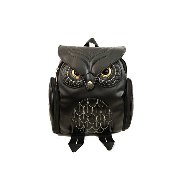 Black & Gold Stylish Owl Backpack