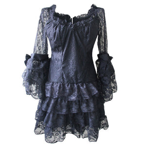 Black Hollow Out Floral Lace Butterfly Sleeve Victorian Corset Top