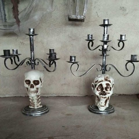 Halloween Metal Skull Candle Holder for Horror Decoration