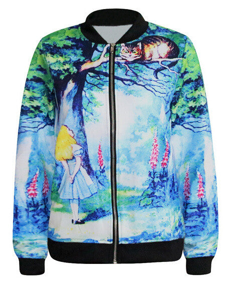 One Size Long Sleeve Alice in Wonderland 3D Print Zipper Jacket