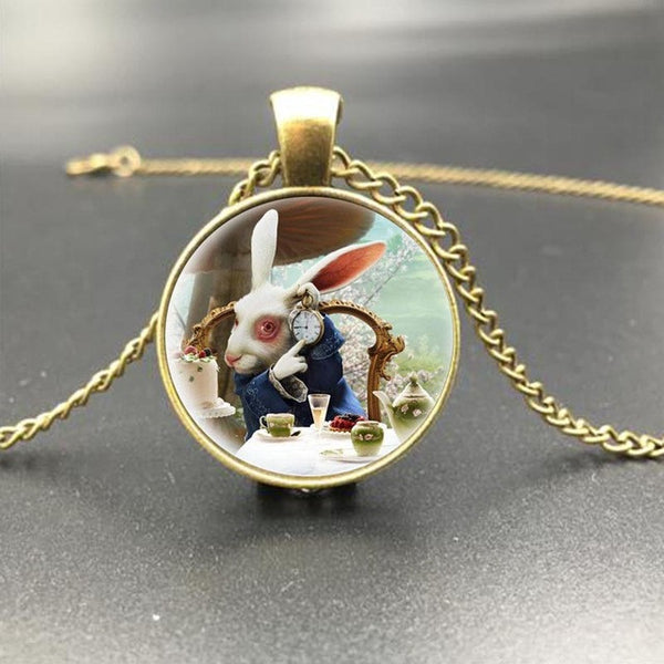 Alice In Wonderland Picture Pendant Necklace