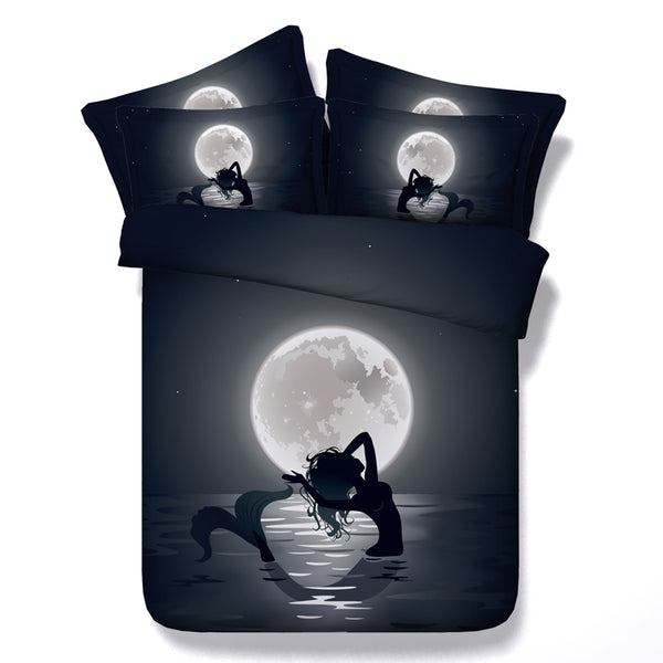 3D 4pc-5pc Black Mermaid Moon Duvet Cover Bedding Set