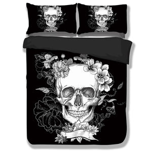 3pcs Black 3D Skull Duvet Cover Bedding Set
