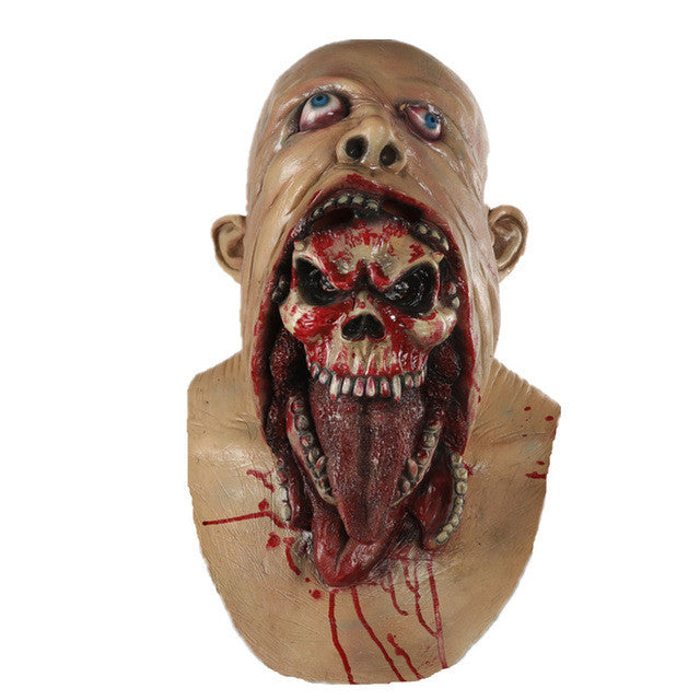 Full Face Melting Zombie Bloody  Horror Adult Latex Scary Halloween Mask