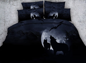 HD Digital Print 4PC Howling Wolves Duvet Cover Set
