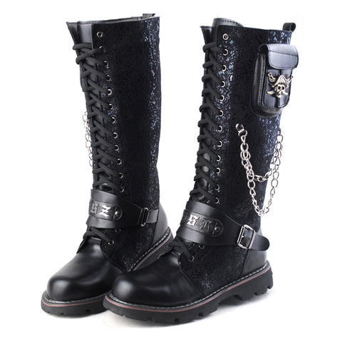 Black Long Knee Boots For Men Riding Boots