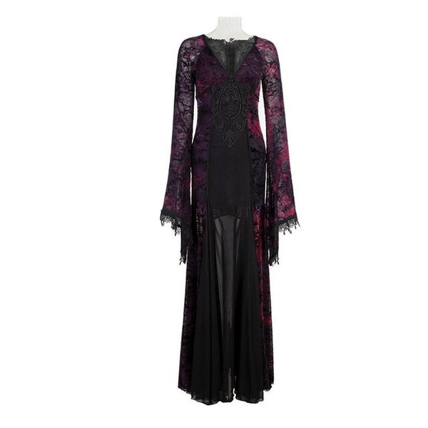 Punk Gothic Palace Flocking Dark Violet Long Dress For Women