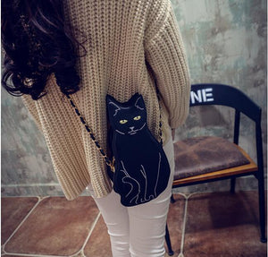 Black Cat Shape Chain Shoulder Bag Purse