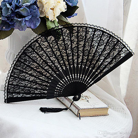Gochic Handmade Black Floral Lace Folding Fan