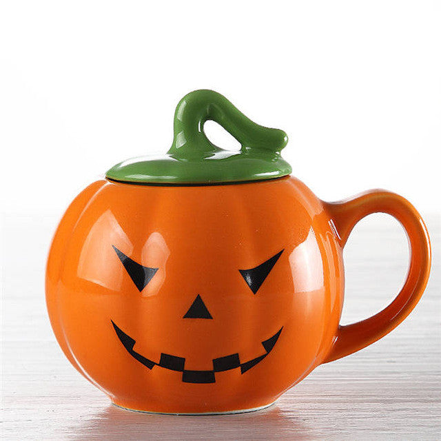 Halloween Pumpkin & Ghost Porcelain Mugs