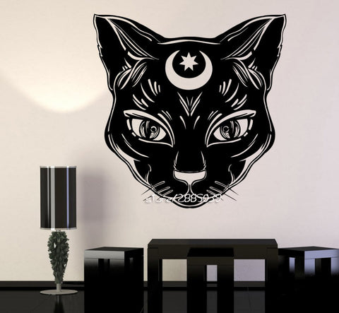 Black Cat Moon Vinyl Wall Sticker