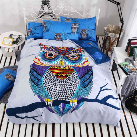 3/4pcs Owl Duvet Cover Sheet Bedding Set