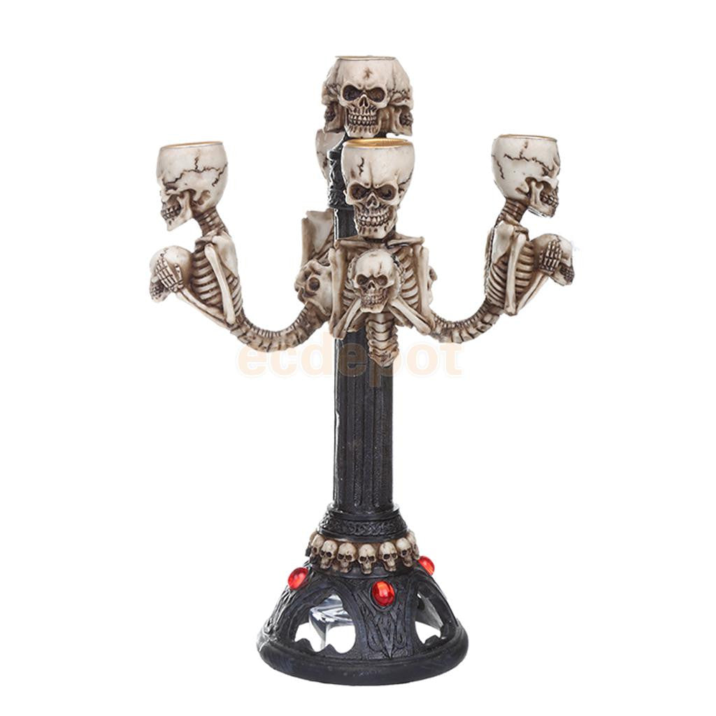 Gothic Lighted Skull Tea Light Candle Stick