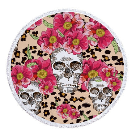 Round Skull Beach Towel