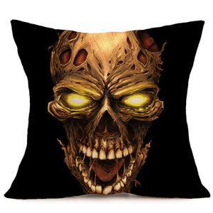 Skull Printed Linen Pillow Cushion Cover