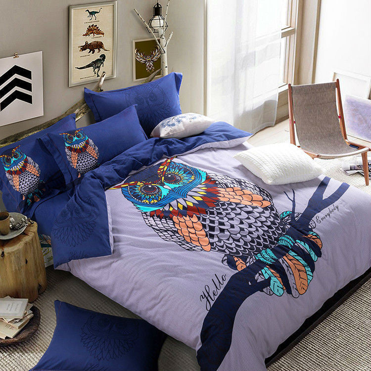 Owl Print 4pc Bedding Set
