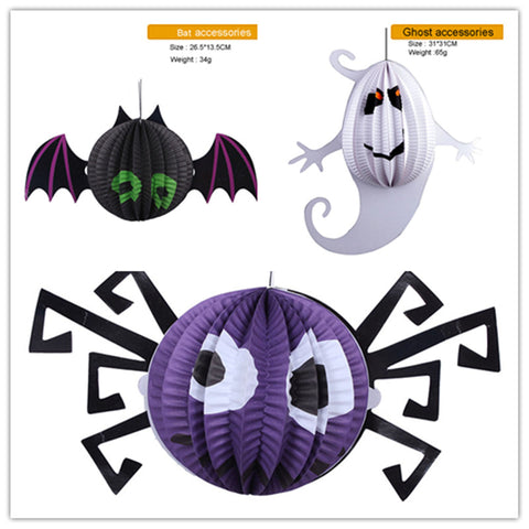 3pcs Halloween Paper Decorations Spider Ghost Bat