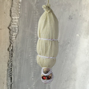 Animated Hanging Mummy with Red Eyes Scary Sound and Moving Halloween Decoration