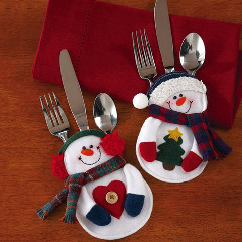 2Pcs Christmas Decorations Snowman Silverware Holders