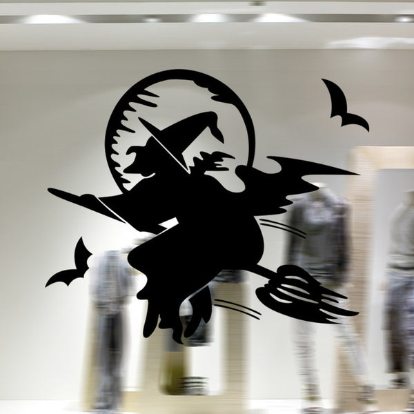 Flying Witch Halloween Decoration Wall Sticker 20 Inches