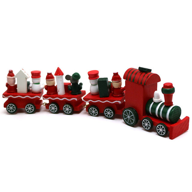 Christmas Painted Wood Train Decoration
