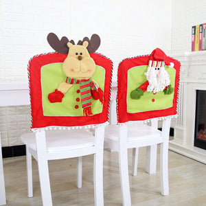 1Pc Christmas Decoration Chair Cover Santa Claus Elk Snowman