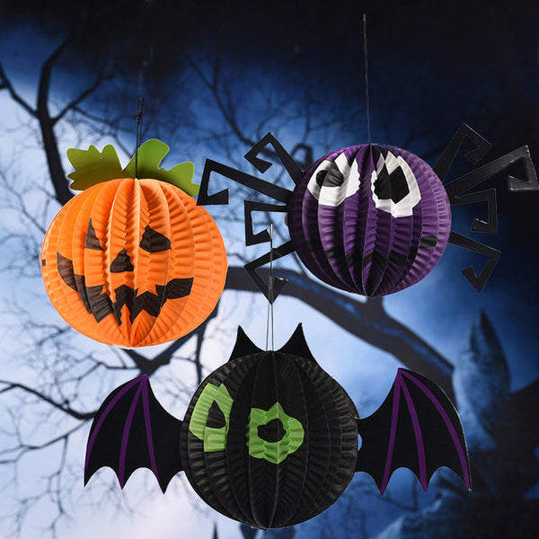 Set of 9 Halloween Pumpkin, Spider & Bats Hanging Ornaments