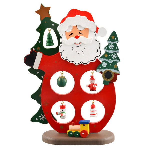 Christmas Wooden Tree Santa Claus Snowman Decoration
