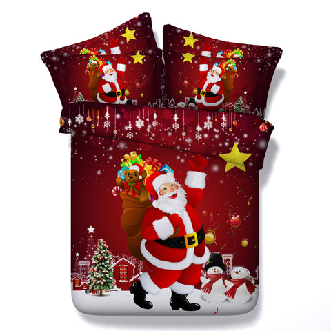 3D Christmas Santa Claus Snow Bedding Set