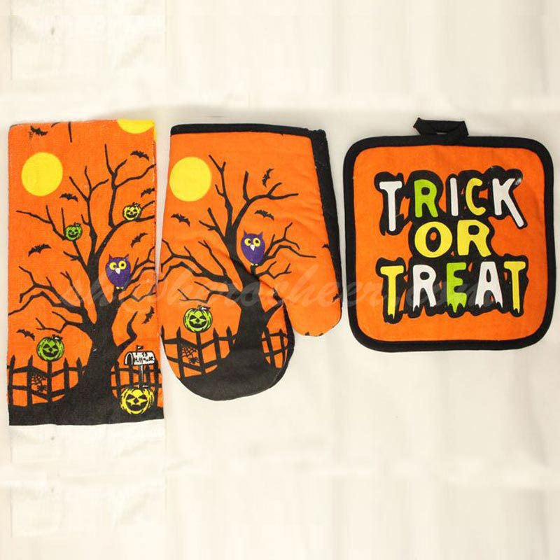 Owl Pattern Halloween Kitchen 3pc Set