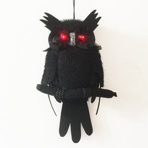 30cm Small Halloween Hanging Black Owl with Red LED Light-up Eyes Halloween Decoration