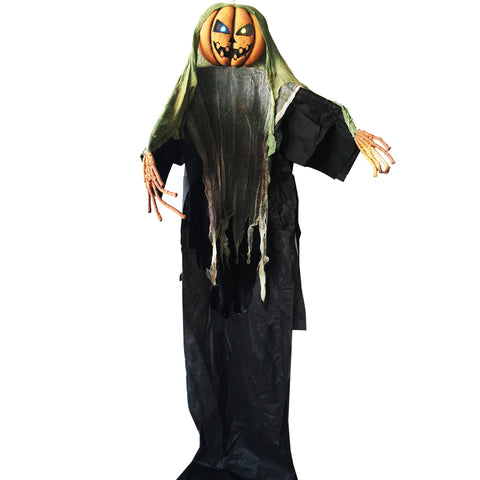 3 Meters Giant Spooky Hanging Pumpkin Man with Light up Eyes Halloween Decoration