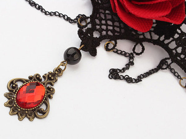 Women Vintage  Gothic Steampunk Lace Flower Collar Choker Necklace