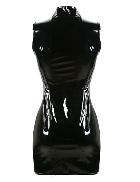 Gothic Punk High Collar Sleeveless Women Black Shiny Zip Up Mini Dress