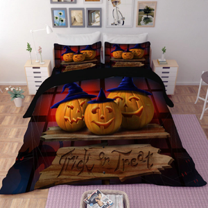 Halloween Pumpkin Trio Duvet Bedding Set