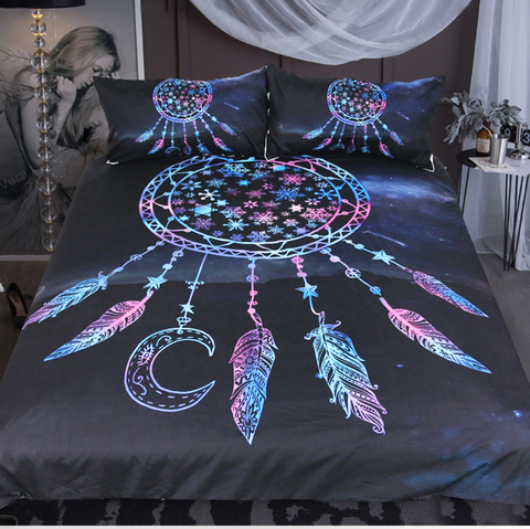 Snowflake Dreamcatcher Galaxy Duvet Cover 3pc Bedding Set