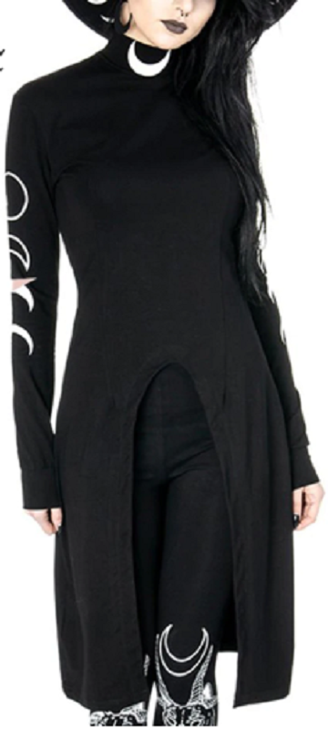 Moon Phases Black Turtle Neck Dress
