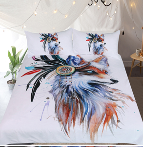 Fox by Pixie Cold Art Bedding Set  3pc Duvet Bedding Set