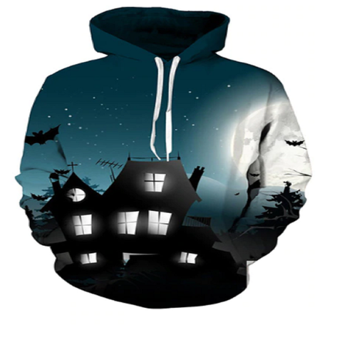 Creepy Mansion Halloween 3D Hooded Sweatshirt