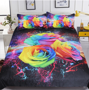 Colorful Roses 3D Duvet Cover 3pc Bedding Set