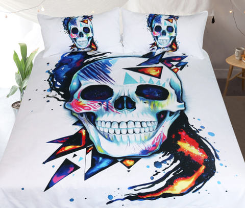 Skull  by Pixie Cold Art Bedding Set  3pc Duvet Bedding Set