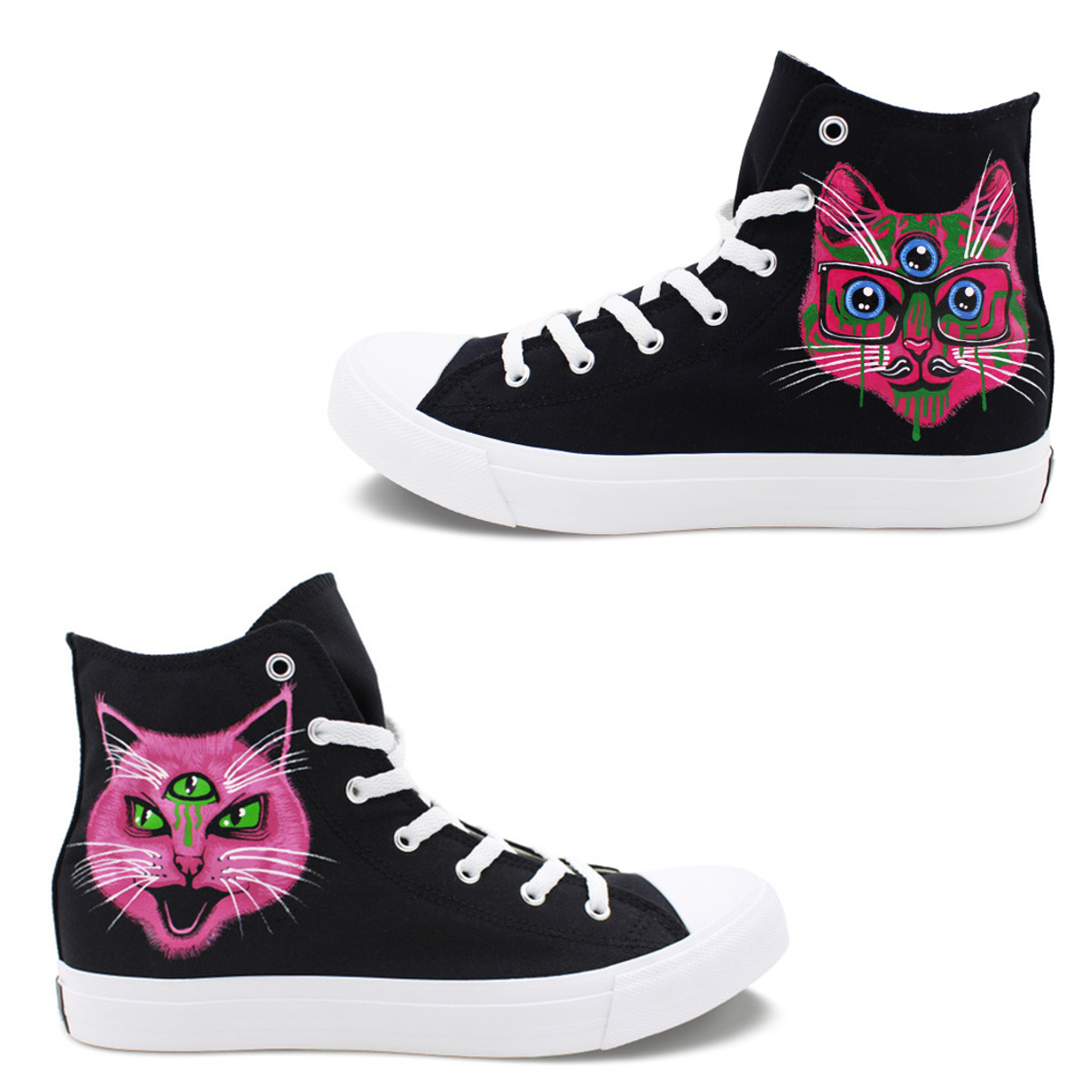 Wen's  Custom Hand Painted 3 Eyed Cat  Women's  Canvas Sneakers