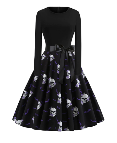 Gothic Skull And Bat Dress