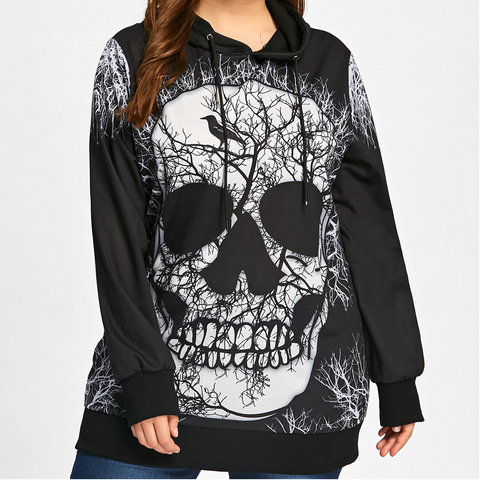Gamiss Plus Sized  Skull Printed Pull Over Hoodie