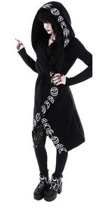 Witch Moon Long Loose Sleeve Hooded Sweatshirt