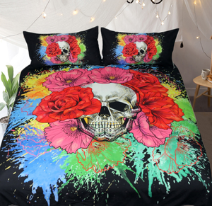 Watercolor Splash Skull Duvet 3pc Bedding Set