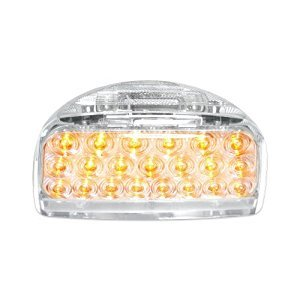 Headlight Bezel With Visor Rectangular Dual Lights 21 Amber LED Clear Lens 1 Set