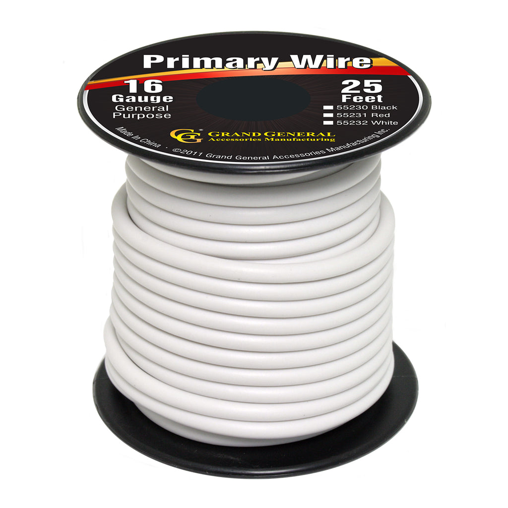 Primary Wire in 16 Gauge, 25 Ft Roll With Spool (White) – MiamiStar.com