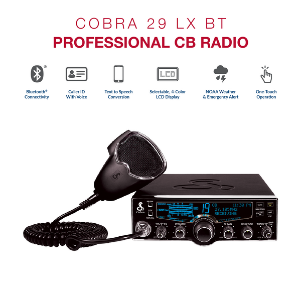 cobra cb radio - 4-color lcd with bluetooth�, weather, and nightwatch� –  miamistar com